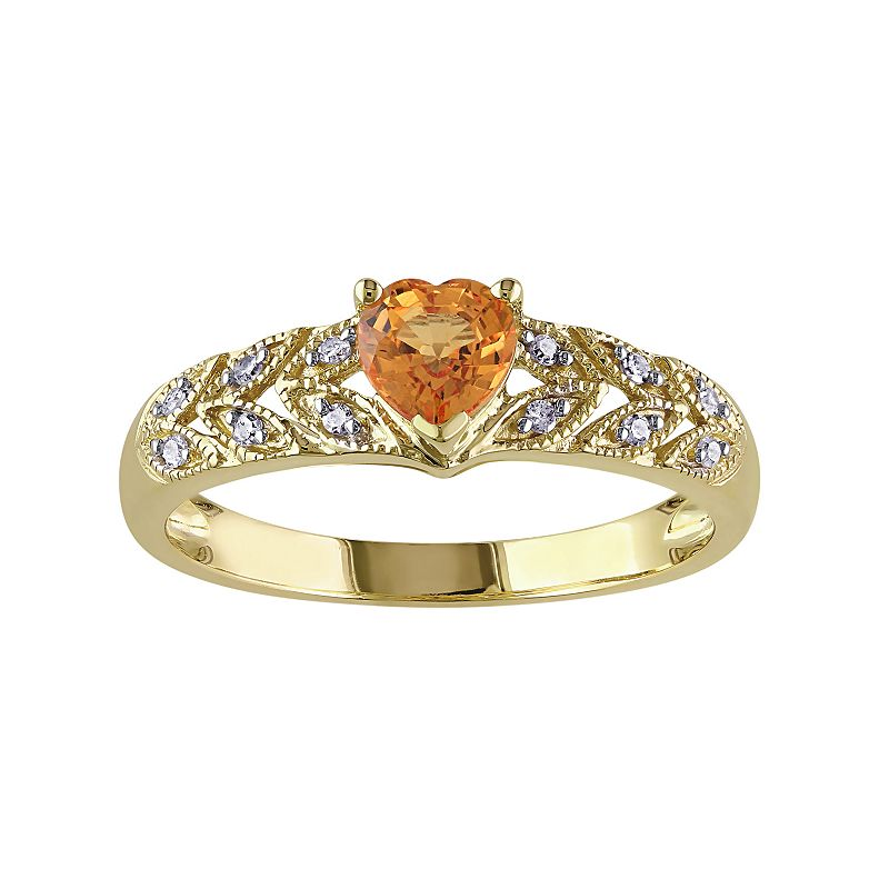 Orange Sapphire & Diamond Accent 10k Gold Heart Ring