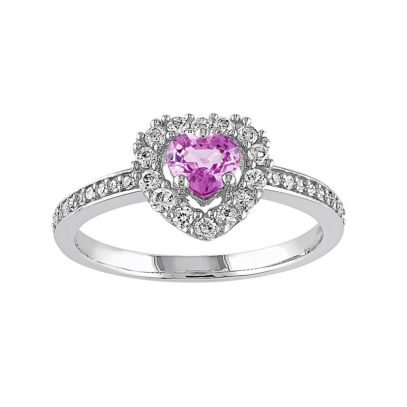 Pink Sapphire & 1/10 Carat T.W. Diamond 14k White Gold Halo Heart Ring