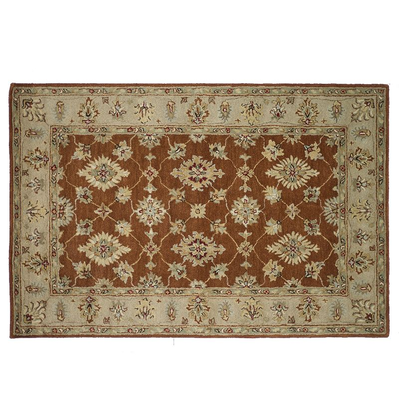 Loloi Fairfield Rust Beige Floral Framed Wool Rug