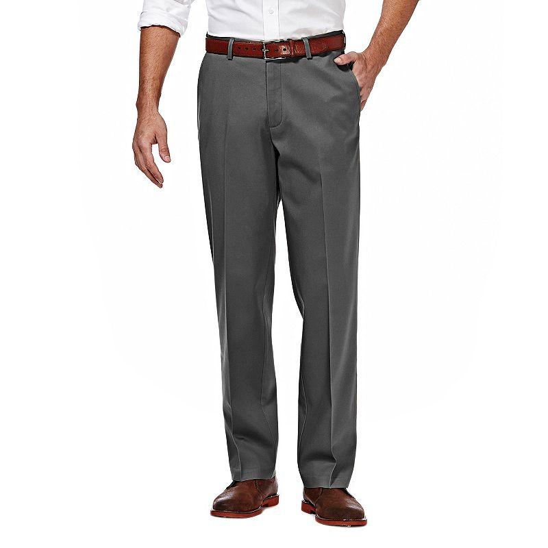 Men's Haggar Premium No Iron Khaki Stretch Straight-Fit Flat-Front Pants