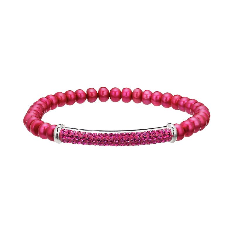 Freshwater by HONORA Dyed Freshwater Cultured Pearl & Crystal Sterling Silver Stretch Bracelet