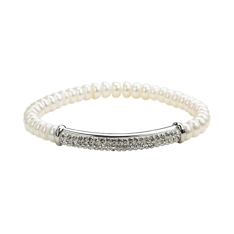 Freshwater by HONORA Freshwater Cultured Pearl & Crystal Sterling Silver Stretch Bracelet