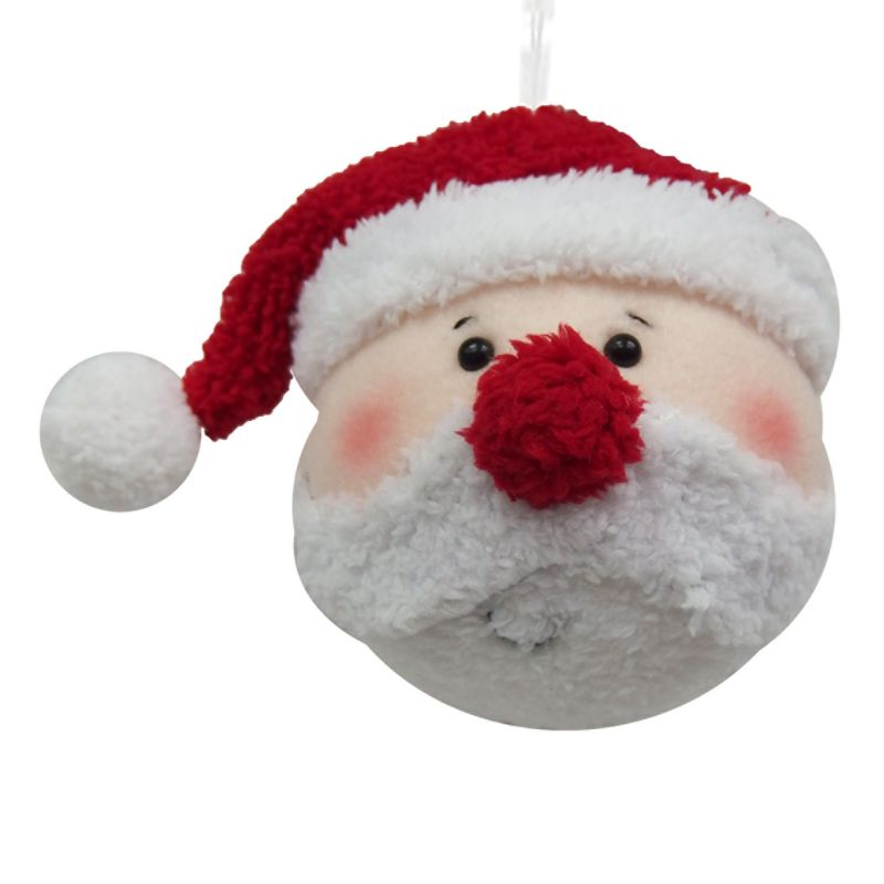 St Nicholas Square 174 Plush Santa Head Christmas Ornament