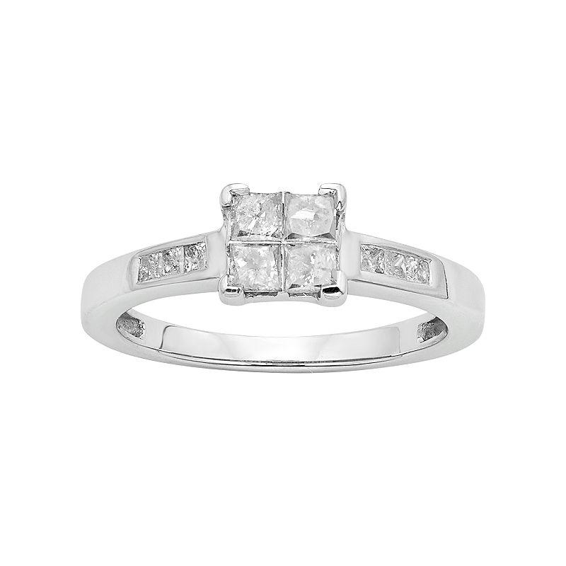 Diamond Square Cluster Engagement Ring in Platilite (1/2 Carat T.W.)