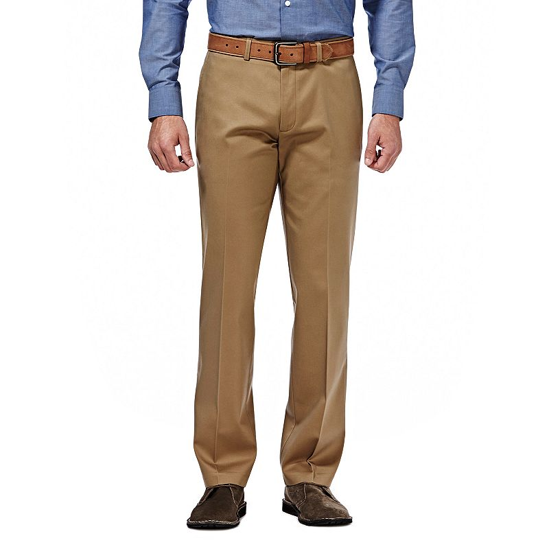 Men's Haggar Premium No Iron Khaki Stretch Classic-Fit Flat-Front Pants