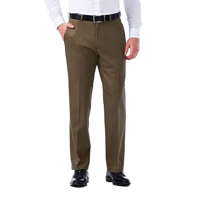 Men's Haggar Premium No Iron Khaki Stretch Classic-Fit Flat-Front Pants