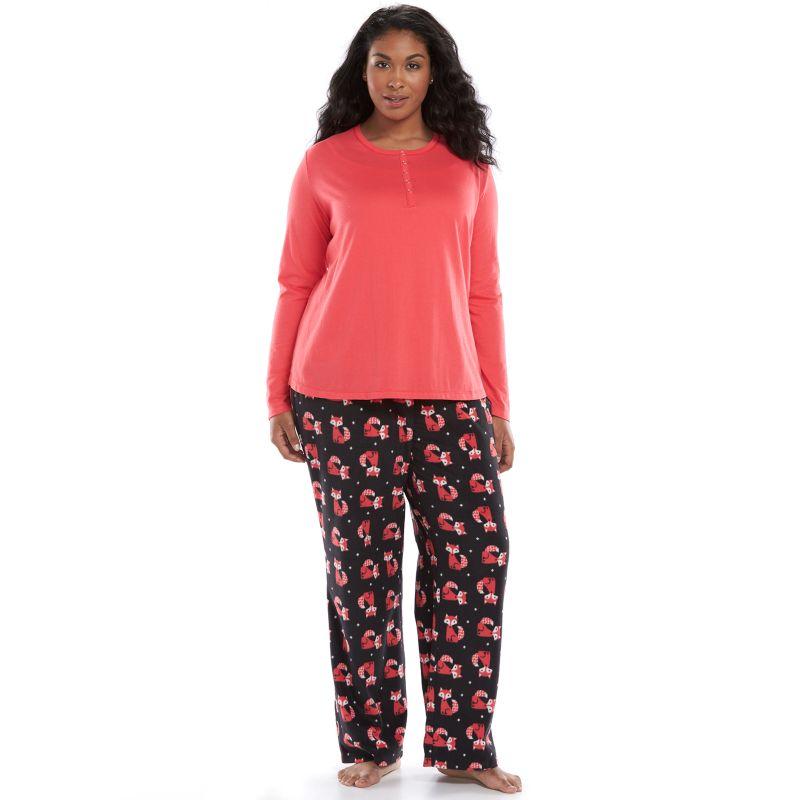 Plus Size SONOMA life + style Pajamas: Knit Top & Microfleece Pants Pajama Gift Set, Women's, Size: 1X, Black