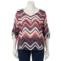 Juniors' Plus Size HeartSoul Chevron Roll Tab Top with Necklace