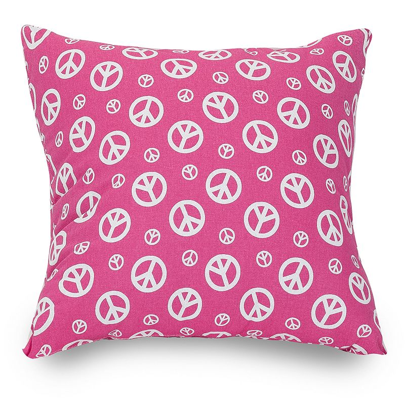 MAJESTIC HOME GOODS PEACE DECORATIVE THROW PILLOW (PINK)