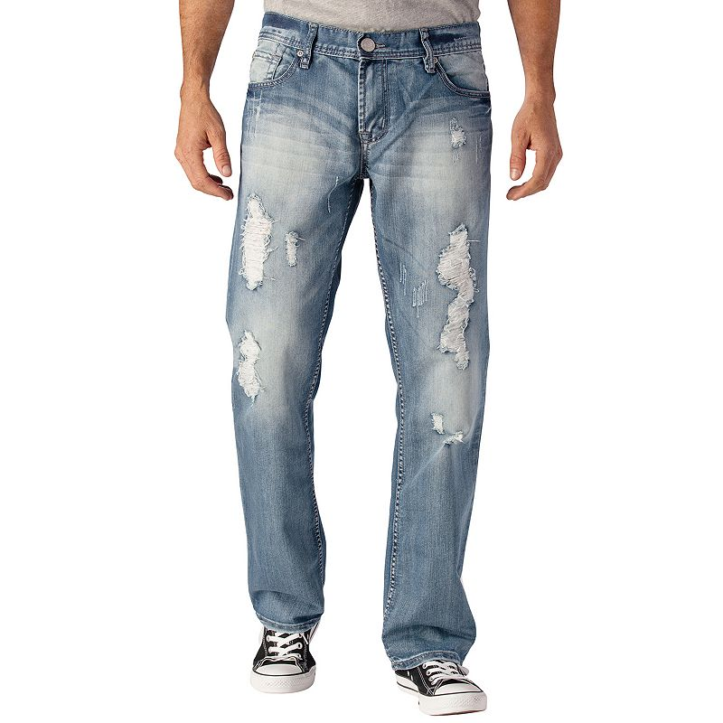 Men's Seven7 Leg Destructed Straight Jeans