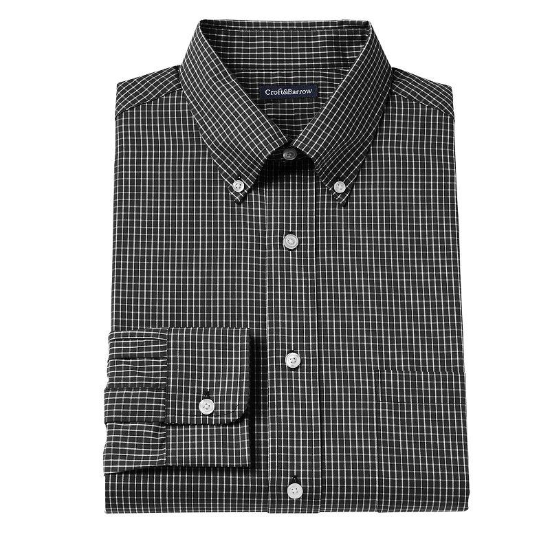 Men's Croft & Barrow® Fitted Grid Button-Down Collar Dress Shirt - Men