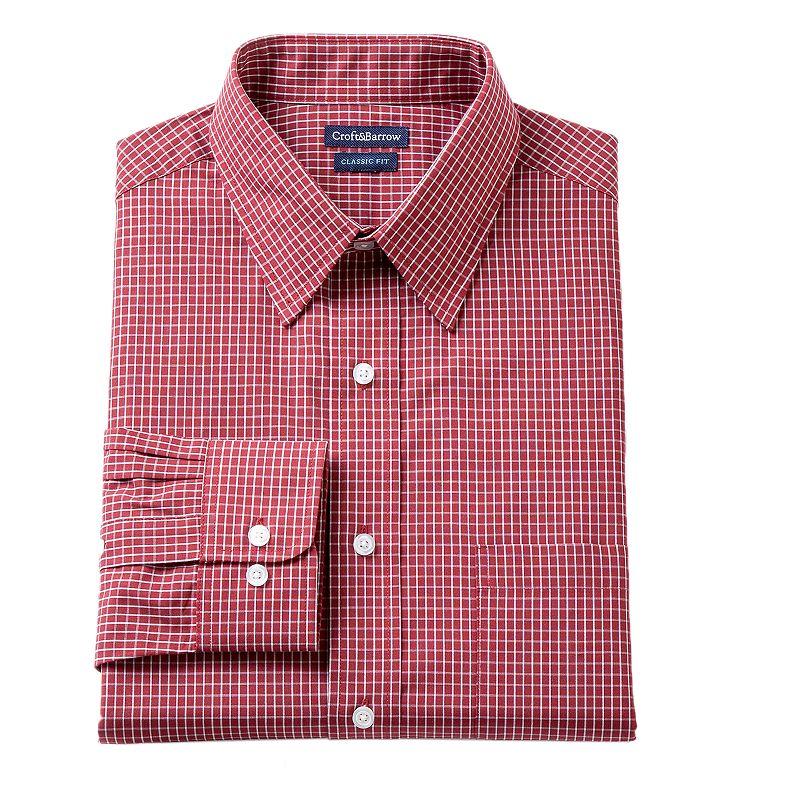 Men's Croft & Barrow® Classic-Fit Mini-Grid Dress Shirt - Men