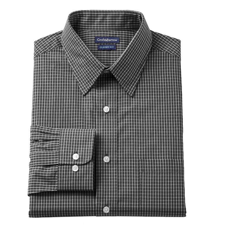 Men's Croft & Barrow® Fitted Mini-Grid Dress Shirt - Men