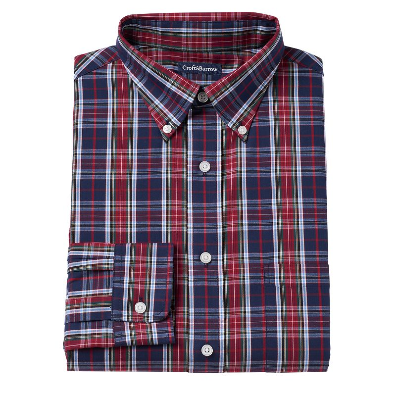 Men's Croft & Barrow® Fitted Red Plaid Button-Down Collar Dress Shirt