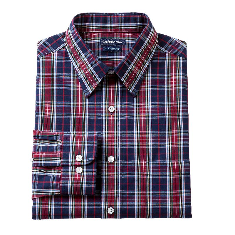 Men's Croft & Barrow® Red Classic-Fit Plaid Dress Shirt - Men