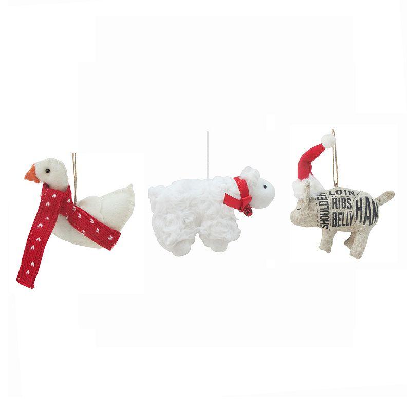 St. Nicholas Square® 3-Piece Farm Animal Christmas Ornament Set