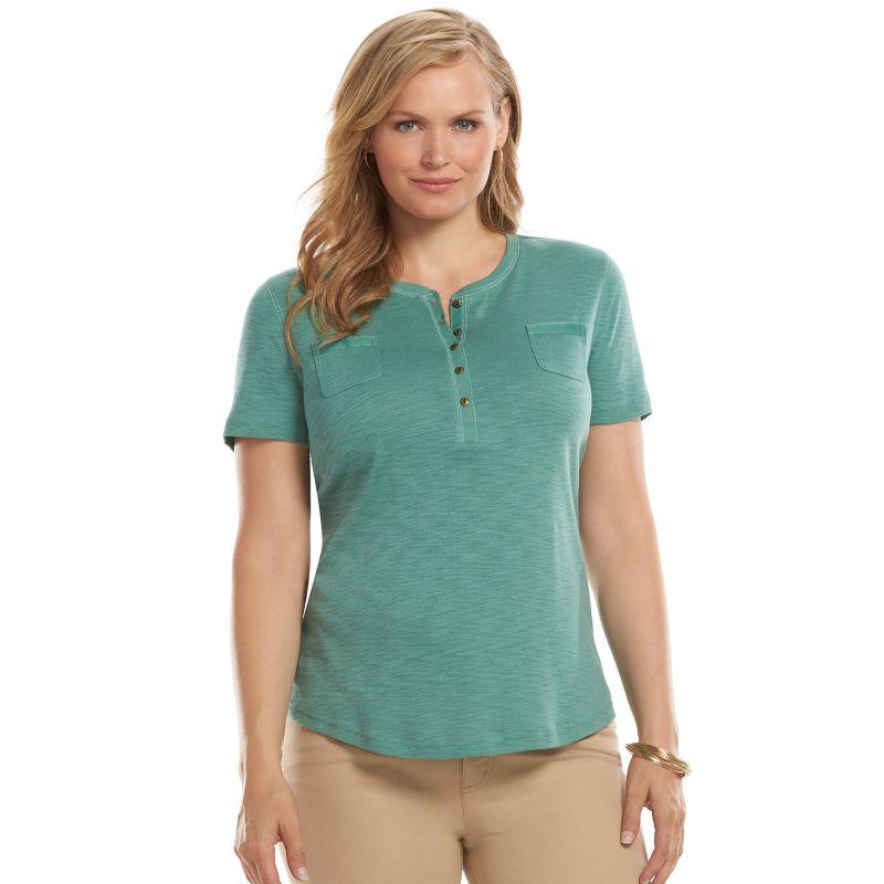 Plus Size Chaps Solid Slubbed Henley, Women's, Size: 1X, Blue