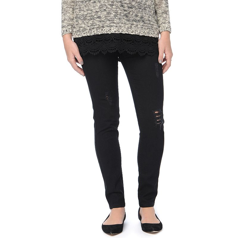 Maternity Oh Baby by Motherhood™ Secret Fit Belly™ Black Ripped Skinny Jeans