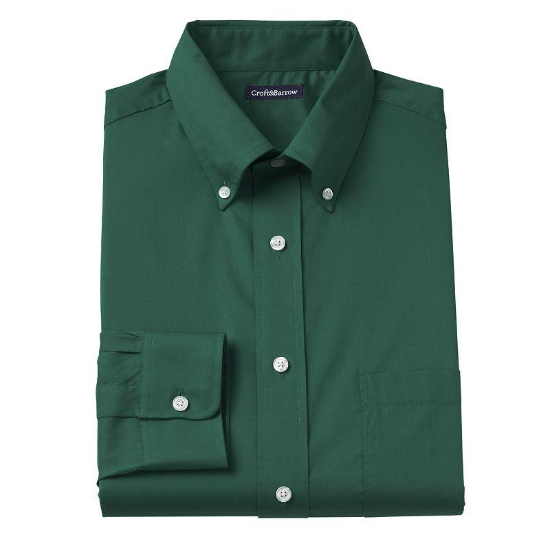 Men's Croft & Barrow® Fitted Seasonal Solid Button-Down Collar Dress Shirt - Men