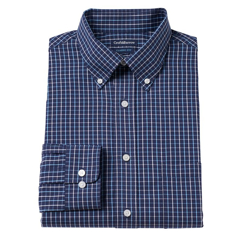 Men's Croft & Barrow Fitted Tartan Plaid Button-Down Dress Shirt