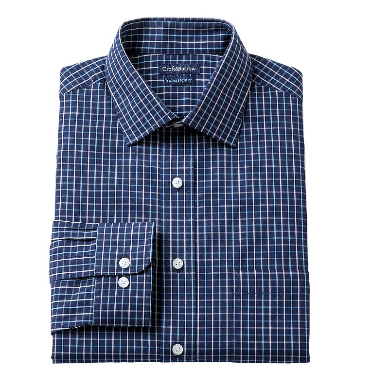Men's Croft & Barrow® Blue Slim-Fit Tartan Plaid Dress Shirt - Men