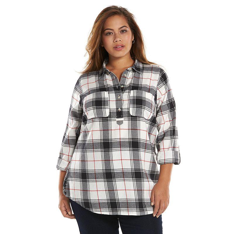 Plus Size SONOMA life + style Flannel Tunic, Black