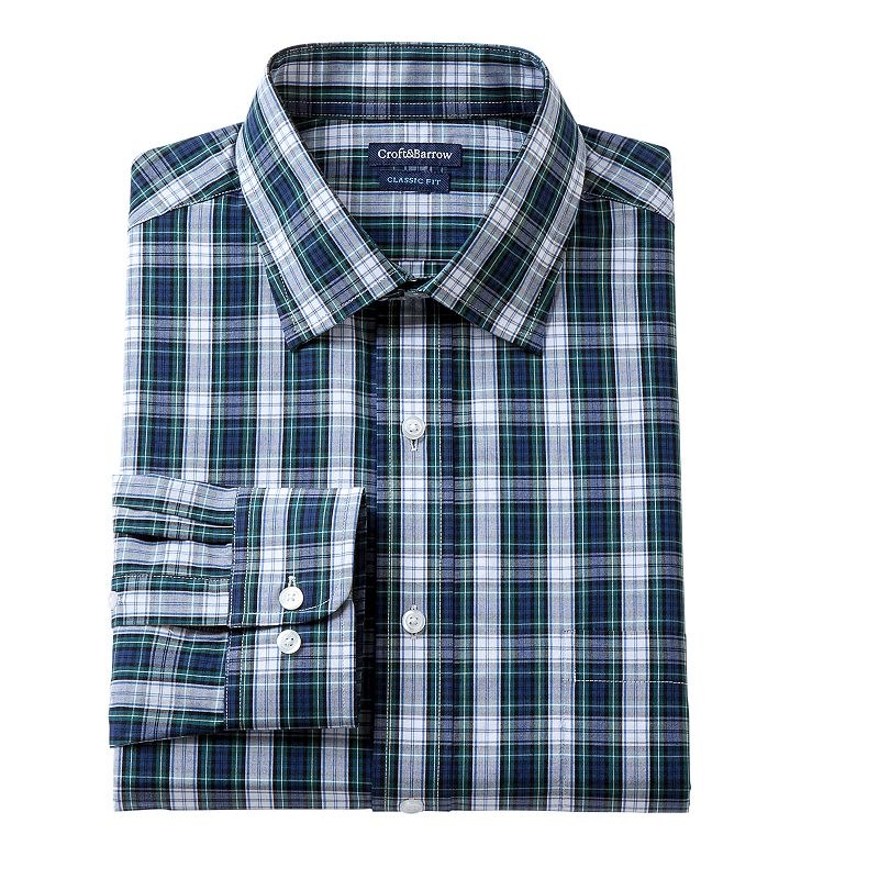 Men's Croft & Barrow® Evergreen Classic-Fit Plaid Dress Shirt