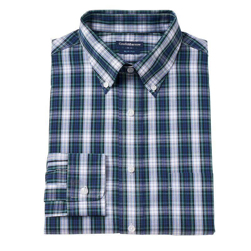 Men's Croft & Barrow® Slim-Fit Plaid Button-Down Collar Dress Shirt