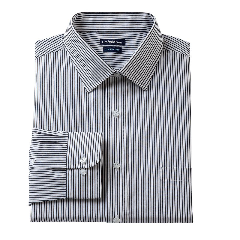 Men's Croft & Barrow® Fitted Ice Striped Dress Shirt - Men