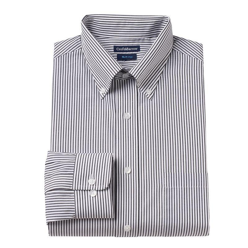 Men's Croft & Barrow® Slim-Fit Striped Button-Down Collar Dress Shirt - Men