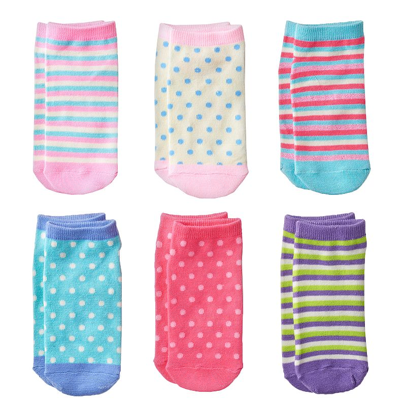 Pink Cookie 6-pk. Sparkly Stripe No-Show Socks - Girls