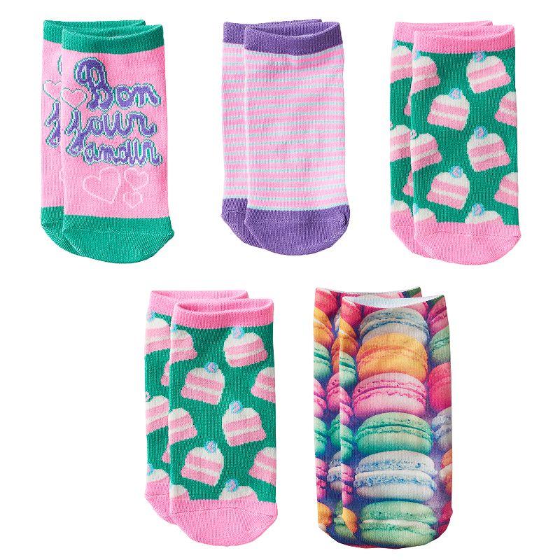 Girls Pink Cookie 5-pk. Macaron No-Show Socks