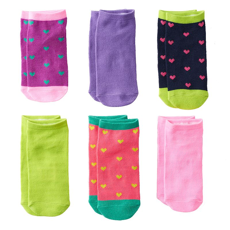 Girls Pink Cookie 6-pk. Sparkly Heart No-Show Socks