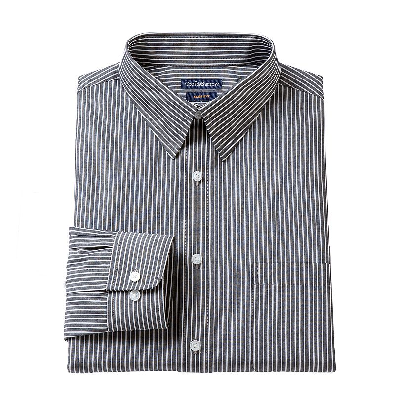 Men's Croft & Barrow® Slim-Fit Striped Dress Shirt - Men