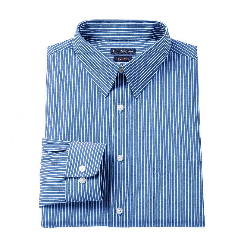 Men's Croft & Barrow® Slim-Fit Striped Dress Shirt - Men