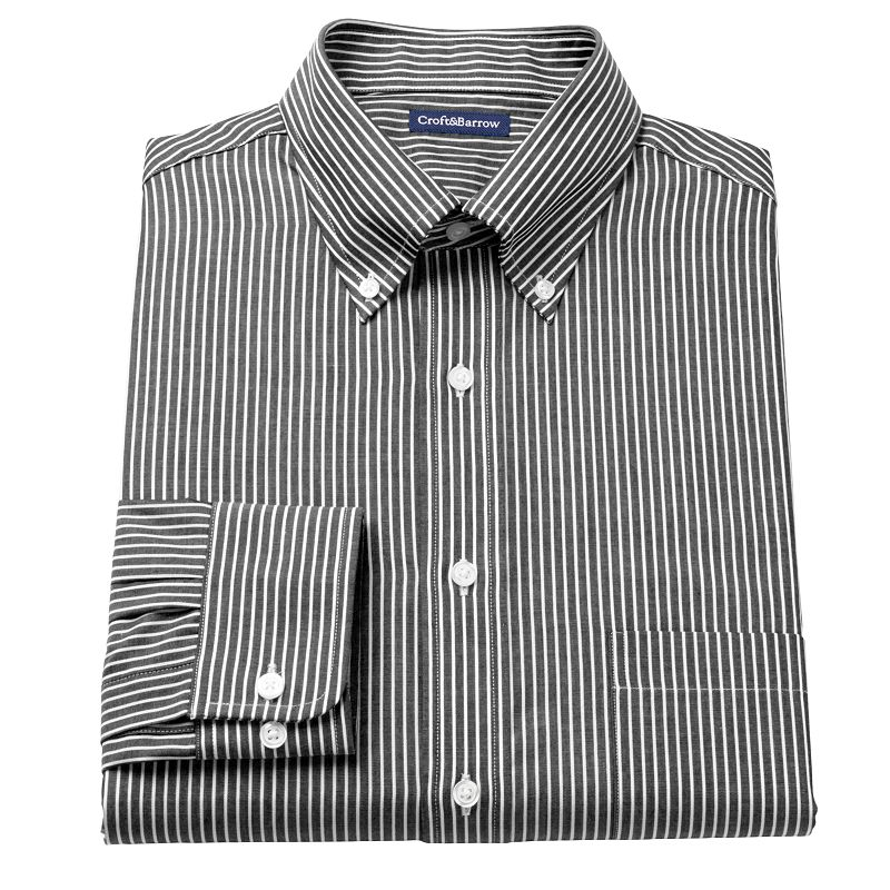 Men's Croft & Barrow® Fitted Ralphy Striped Button-Down Dress Shirt