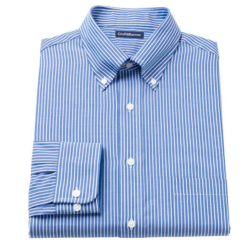 Men's Croft & Barrow® Fitted Ralphy Striped Button-Down Dress Shirt