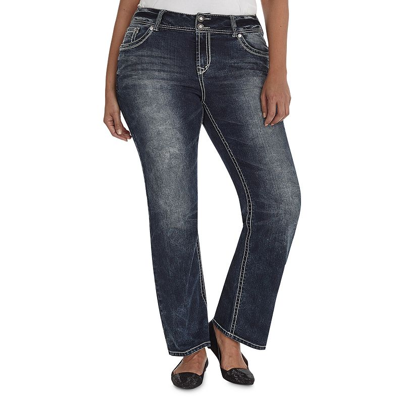 Juniors' Plus Size Wallflower Dirty Wash (Blue) Luscious Curvy Bootcut Jeans, Girl's, Size: 16 W
