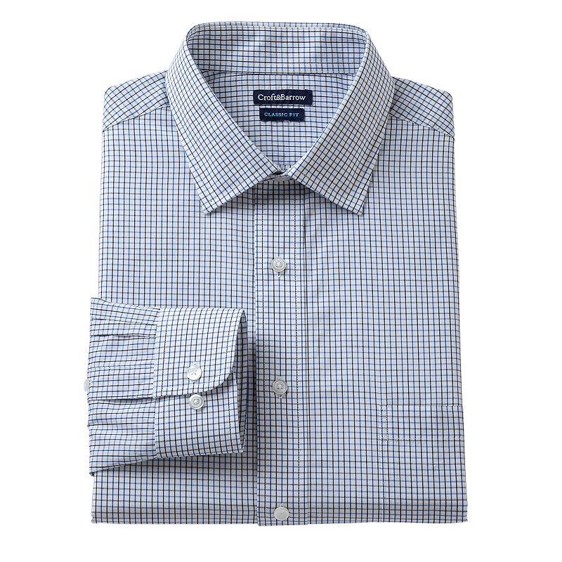 Men's Croft & Barrow® Classic-Fit Grid Dress Shirt - Men