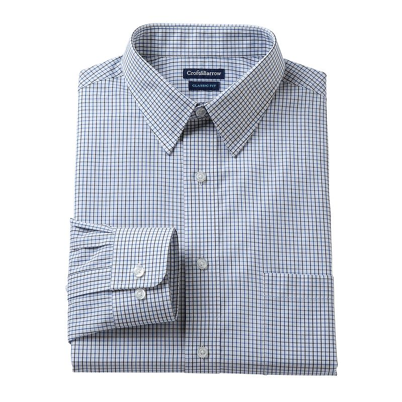 Men's Croft & Barrow Fitted Grid Dress Shirt