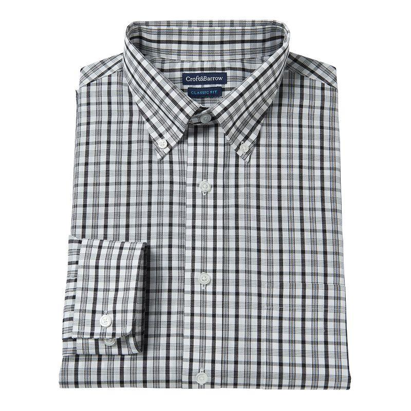 Men's Croft & Barrow® Slim-Fit Plaid Broadcloth Dress Shirt
