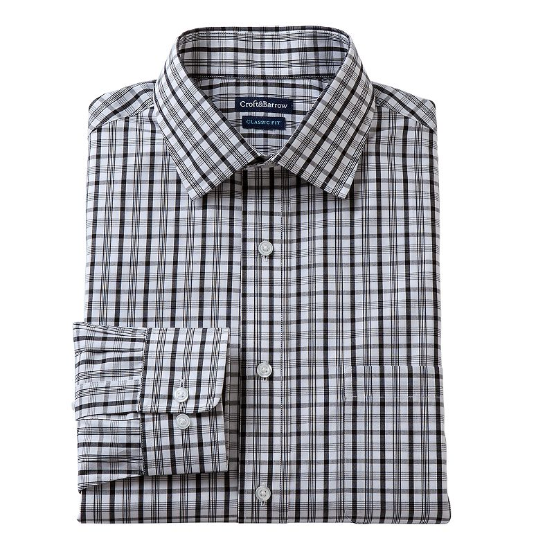 Men's Croft & Barrow Fitted Plaid Broadcloth Dress Shirt