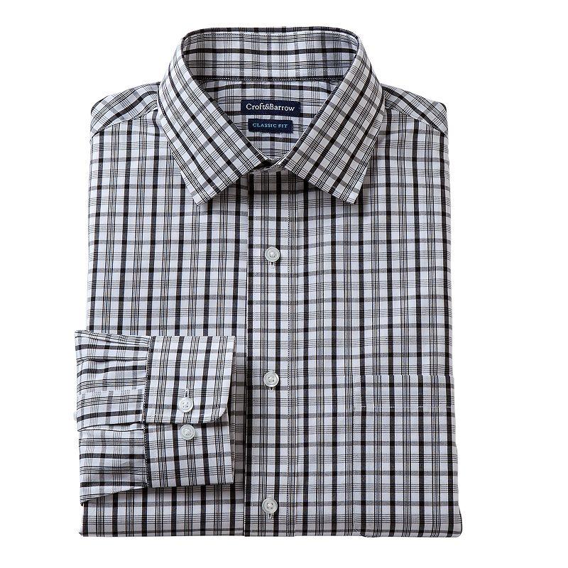 Men's Croft & Barrow® Classic-Fit Plaid Broadcloth Dress Shirt