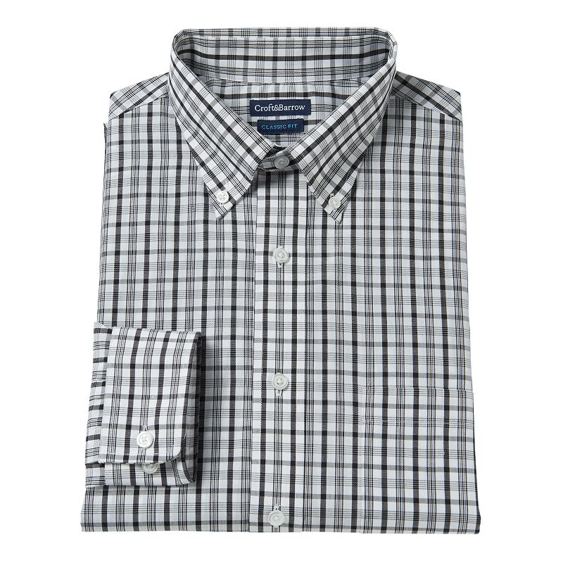 Men's Croft & Barrow® Fitted Plaid Broadcloth Dress Shirt