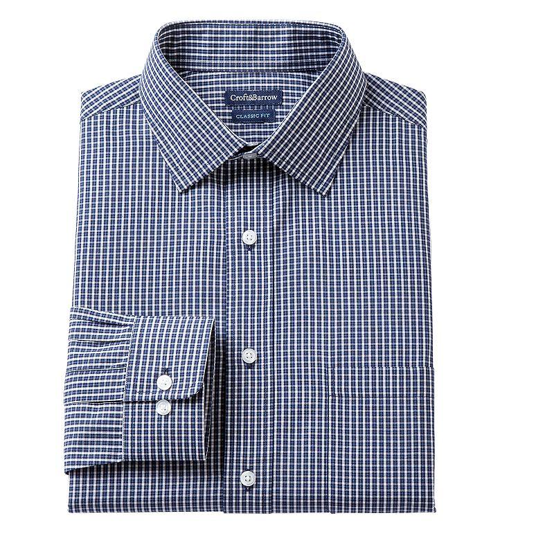 Men's Croft & Barrow® Classic-Fit Lumber Grid Broadcloth Dress Shirt