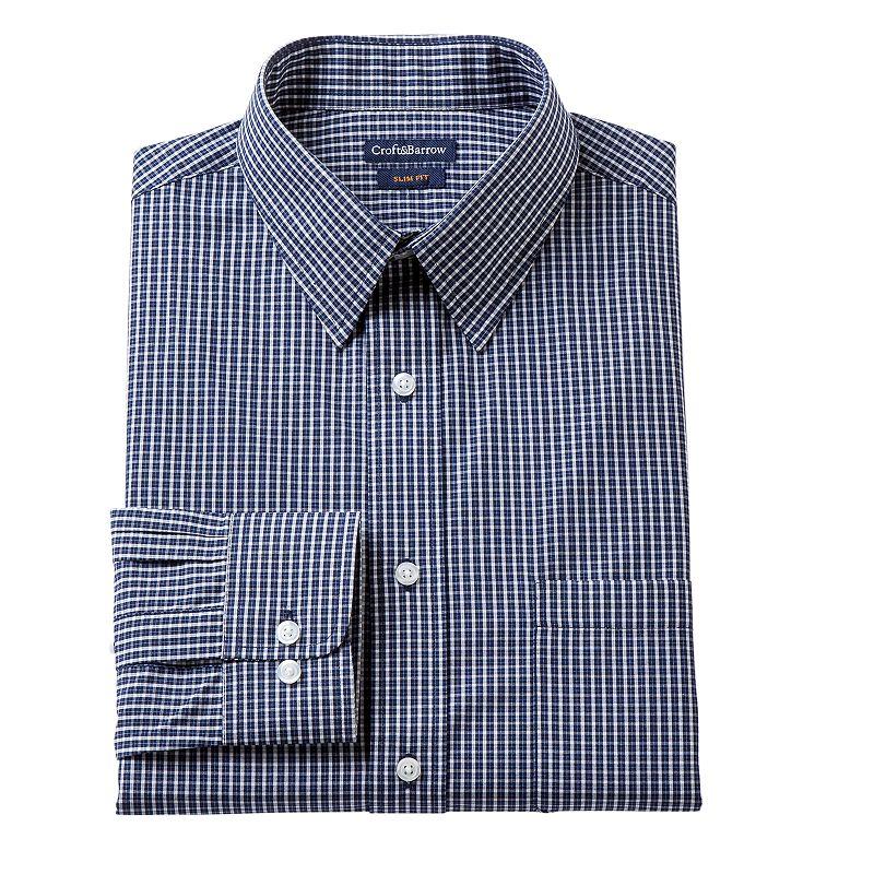 Men's Croft & Barrow Fitted Lumber Grid Broadcloth Dress Shirt