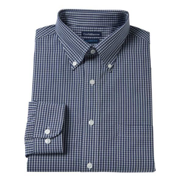 Men's Croft & Barrow® Fitted Grid Broadcloth Dress Shirt