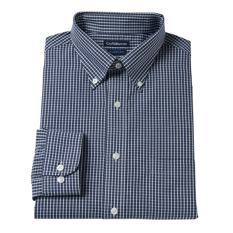 Men's Croft & Barrow® Slim-Fit Grid Broadcloth Dress Shirt