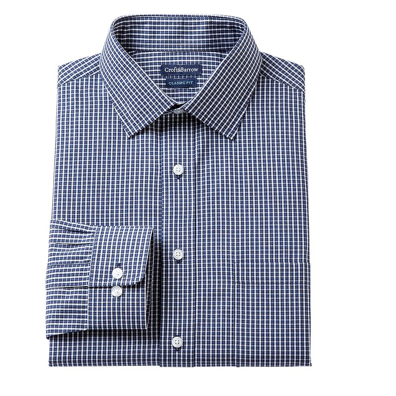 Men's Croft & Barrow Fitted Lumber Grid Broadcloth Dress Shirt