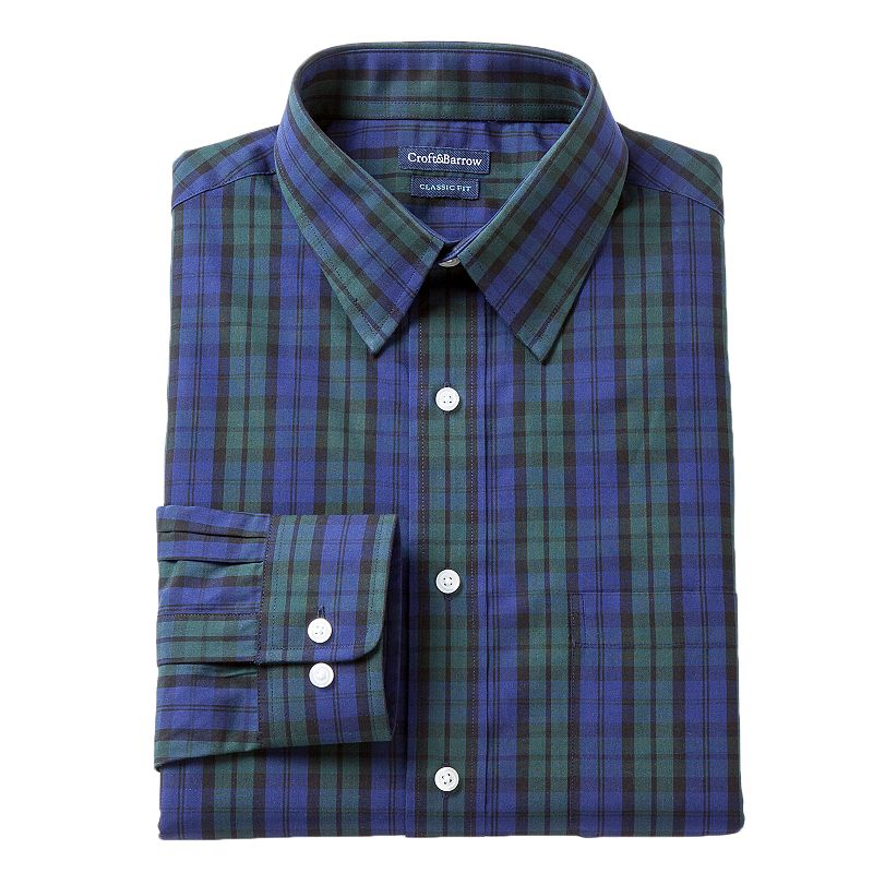 Men's Croft & Barrow® Classic-Fit Plaid Dress Shirt
